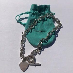 """Tiffany & Co Heart Charm Toggle Necklace 16"""""""